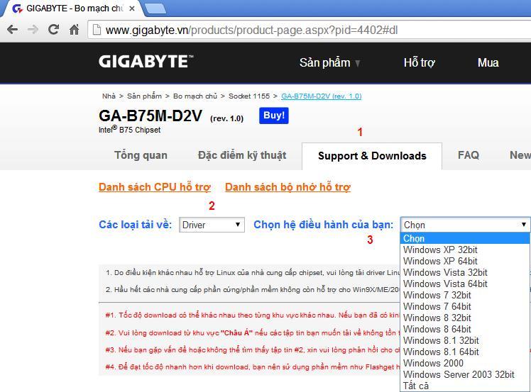 Tải driver main gigabyte