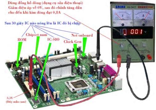 kiểm tra linh kiện bị chập bằng đồng hồ đo dòng