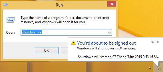 Lệnh shutdown -a