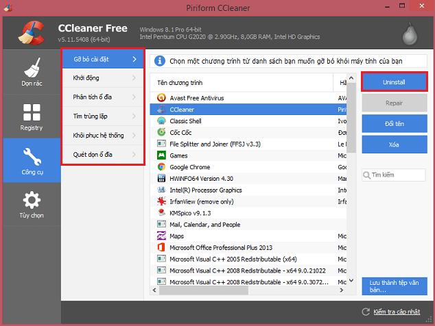 Phần mềm dọn rác máy tính CCleaner