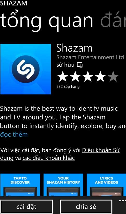Tải phần mềm shazam