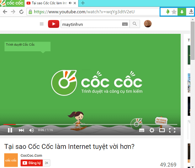 Tải video youtube bằng coc coc