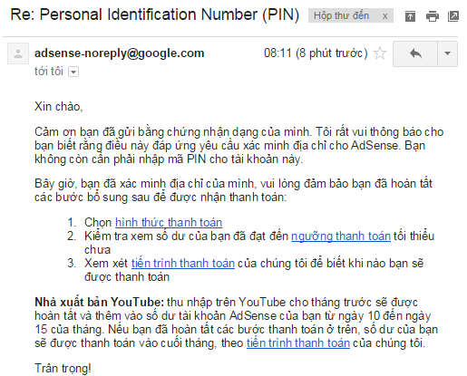 Nhận mã PIN Adsense 2015 sau 5 phút gửi yêu cầu